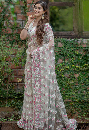 Hand Embroidered Net Scalloped Saree in Off White