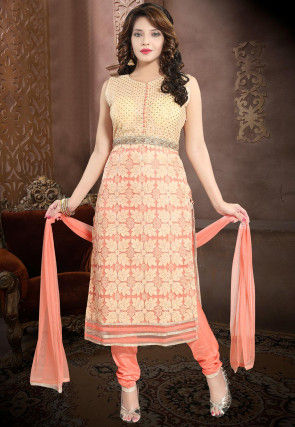 Hand Embroidered Net Straight Suit in Peach and Beige