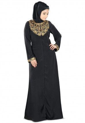 Hand Embroidered Nida Abaya in Black