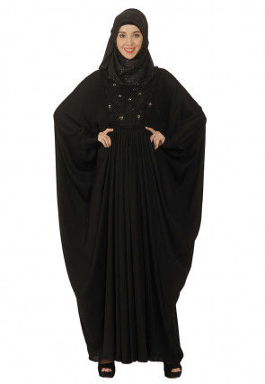 Hand Embroidered Nida Batwing Style Kaftan in Black
