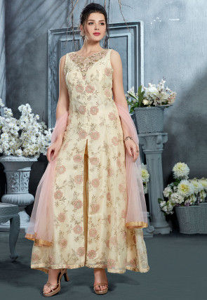 Hand Embroidered Organza Pakistani Suit in Cream