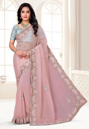 Hand Embroidered Organza Saree in Light Pink