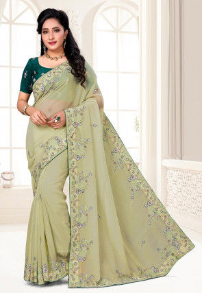 Hand Embroidered Organza Saree in Pastel Green