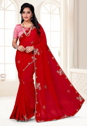 Hand Embroidered Organza Saree in Red