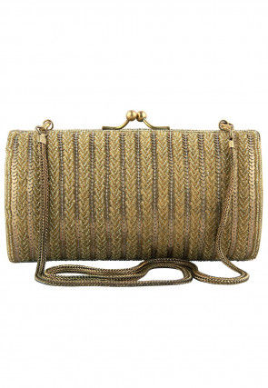 Hand Embroidered Plated Brass Frame Box Clutch in Golden