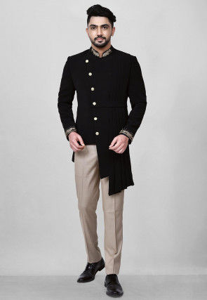 Hand Embroidered Polyester Asymmetric Jodhpuri Suit in Black