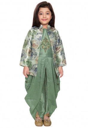 Hand Embroidered Polyester Dhoti Top Set in Dusty Green