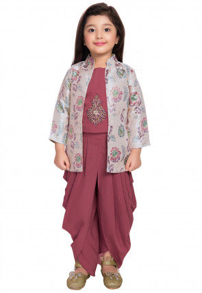 Hand Embroidered Polyester Dhoti Top Set in Old Rose