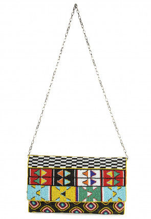 Hand Embroidered Polyester Flap Clutch in Multicolor