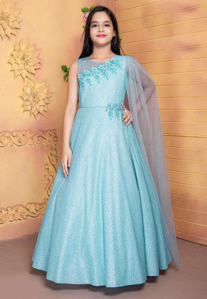 Hand Embroidered Polyester Gown in Light Blue