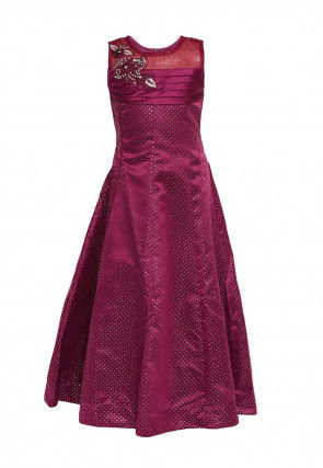 Hand Embroidered Polyester Gown in Magenta