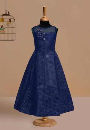 Hand Embroidered Polyester Gown in Navy Blue