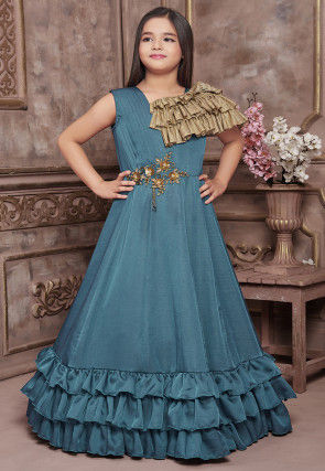 Hand Embroidered Polyester Gown in Teal Blue