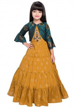 Hand Embroidered Polyester Tiered Gown in Mustard