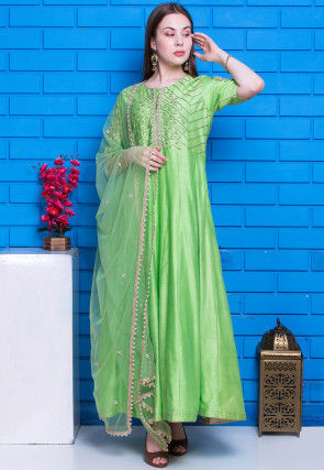 Hand Embroidered Pure Chanderi Silk Abaya Style Suit in Green