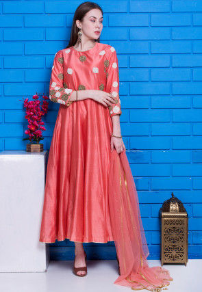 Hand Embroidered Pure Chanderi Silk Abaya Style Suit in Peach