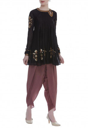 Hand Embroidered Georgette Kurti Dhoti Set in Black and Brown