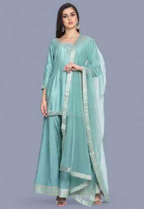 Hand Embroidered Pure Chanderi Silk Pakistani Suit in Light Blue