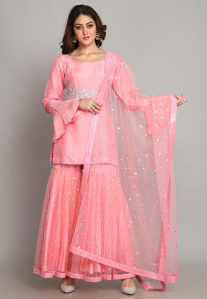 Hand Embroidered Pure Chanderi Silk Pakistani Suit in Light Pink