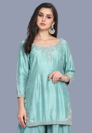 Hand Embroidered Pure Chanderi Silk Straight Kurti in Light Blue