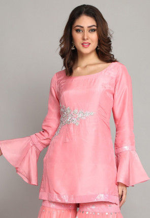 Hand Embroidered Pure Chanderi Silk Straight Kurti in Light Pink