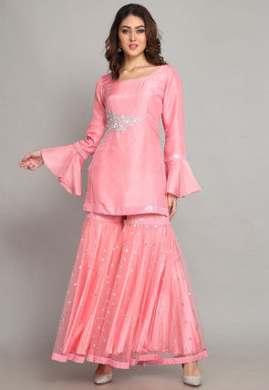 Hand Embroidered Pure Chanderi Silk Straight Kurti Set in Pink