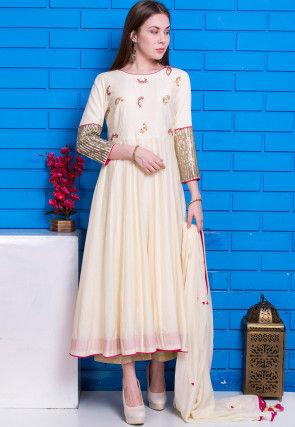 Hand Embroidered Pure Cotton Silk Anarkali Suit in Cream