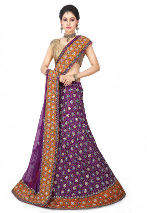 Hand Embroidered Pure Crepe Circular Lehenga in Purple