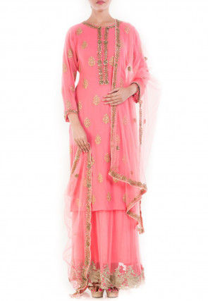 Hand Embroidered Pure Georgette Lehenga in Pink