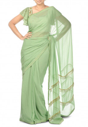 Hand Embroidered Pure Georgette Saree in Pastel Green