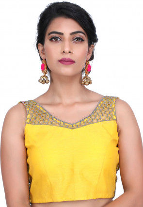 Hand Embroidered Pure Raw Silk Blouse in Yellow
