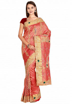 Hand Embroidered Pure Silk Handloom Saree in Coral Red