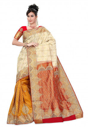 Hand Embroidered Pure Silk Handloom Sareee in Beige and Mustard