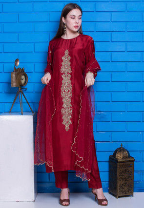 Hand Embroidered Pure Uppada Silk Pakistani Suit in Maroon
