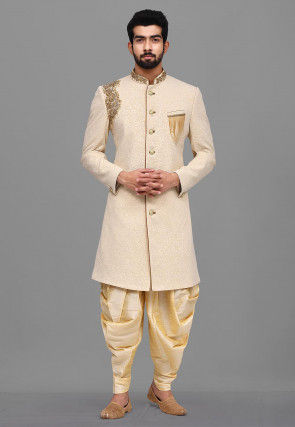 Hand Embroidered Quilted Scuba Dhoti Sherwani in Light Beige