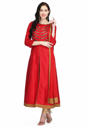 Hand Embroidered Raw Silk Anarkali Suit in Red