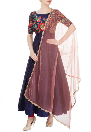 Hand Embroidered Chanderi Silk Anarkali Suit in Purple