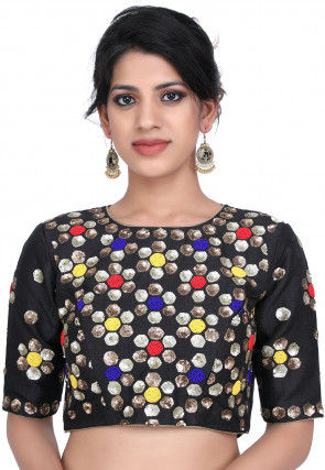 Hand Embroidered Raw Silk Blouse in Black