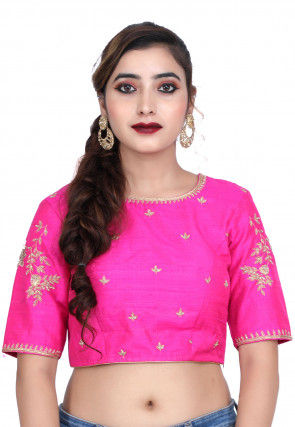 Hand Embroidered Raw Silk Blouse in Fuchsia