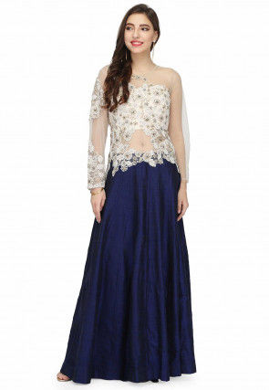 Hand Embroidered Raw Silk Gown in Navy Blue and White