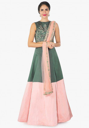 Hand Embroidered Raw Silk Lehenga in Green and Pink
