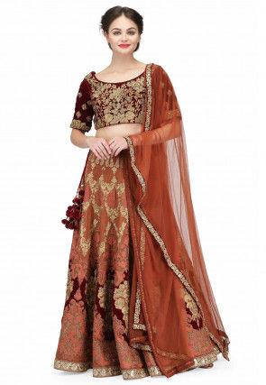 Hand Embroidered Raw Silk Lehenga in Light Brown and Maroon
