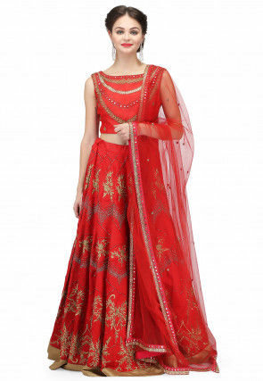 Hand Embroidered Raw Silk Lehenga in Red