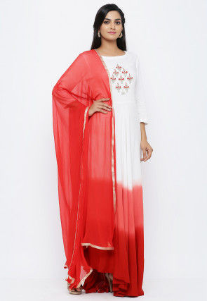 Hand Embroidered Rayon Abaya Style Suit in White and Red Ombre