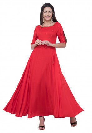 Hand Embroidered Rayon Flared Gown in Red