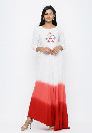 Hand Embroidered Rayon Gown in Shaded White and Red
