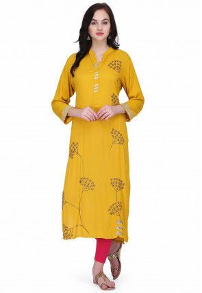 Hand Embroidered Rayon Kurta in Yellow
