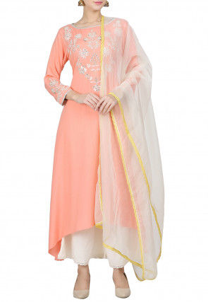 Hand Embroidered Rayon Pakistani Suit in Peach