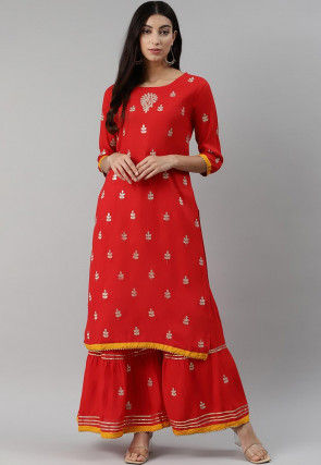 Hand Embroidered Rayon Straight Kurta Set in Red