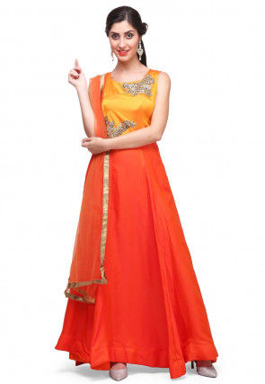 Hand Embroidered Satin Abaya Style Suit in Orange and Yellow